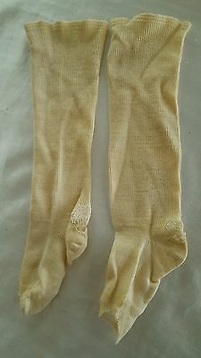 Antique Vintage Baby Children's off white wool long stockings, 1920's.