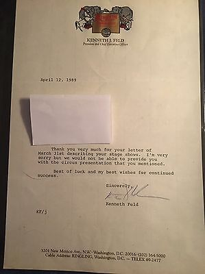 Ringling Bros Barnum & Bailey Circus 28 Year Old Signed CEO Letterhead Vintage
