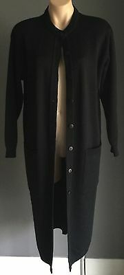 Pre-owned ENIGMA Black Knit Long Sleeve Duster/Cardigan Size S (8-10)
