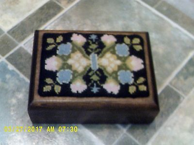 Vintage Wood Box with Embroidered Top- Divided inside for Playing Cards/Trinket