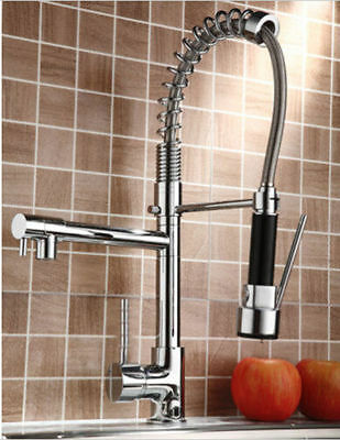 Pull Down Spray Swivel Spout Kitchen Sink Faucet Spring Mixer Tap Chrome