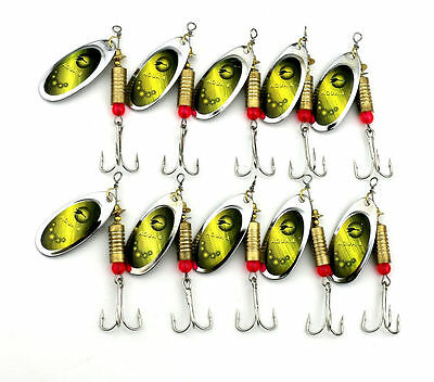USA Lot 10pcs Metal Hard Fishing Lures Bass Spoon Spinnerbait Crank Fish Bait