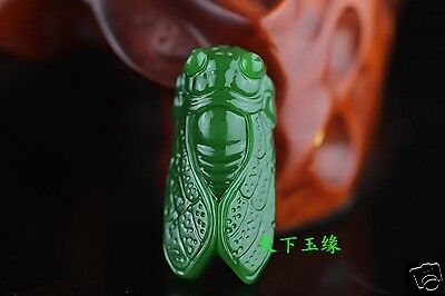 hand-carved 100% Natural green jade cicada Pendant Necklace Amulet