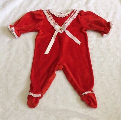 Vintage Carters Baby Sleeper Red Fuzzy 0-3 Months