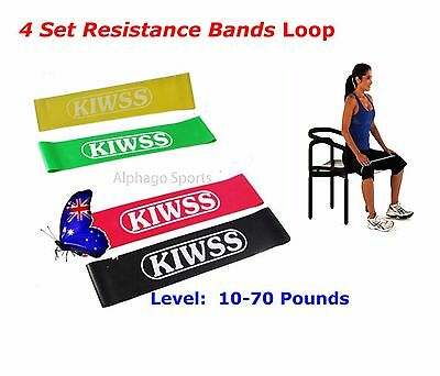 4Pcs Resistance Band Loop Yoga Pilates  Gym Fitness Exercise Workout Training