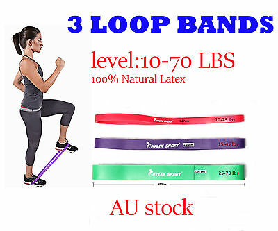 3Pcs Resistance Band Loop Yoga Pilates  Gym Fitness Exercise Workout Training