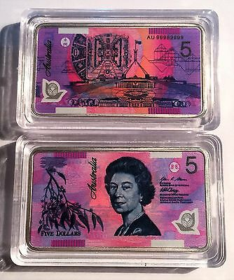 New $5.00 Australian New Note 1 oz Ingot 999 Silver Plated/Colour Printed