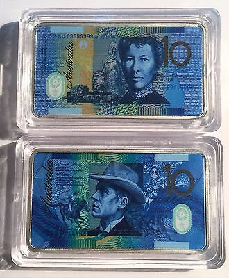 New $10.00 Australian New Note 1 oz Ingot 999 Silver Plated/Colour Printed