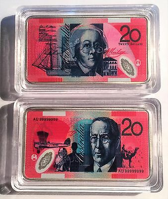 New $20.00 Australian New Note 1 oz Ingot 999 Silver Plated/Colour Printed