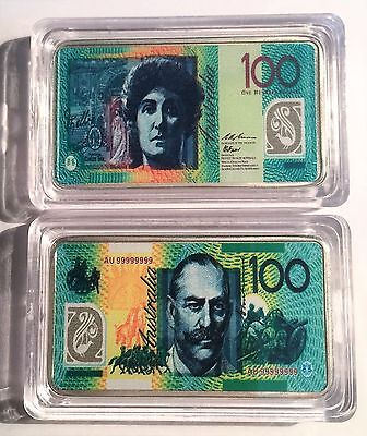 New $100.00 Australian New Note 1 oz Ingot 999 Silver Plated/Colour Printed