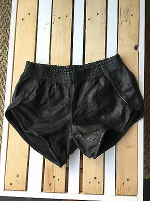 One Teaspoon Black Leather Runner Shorts Size S