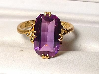 24k Solid Gold PURPLE MAGENTA SAPPHIRE RING signed CHINESE HALLMARK vintage SZ 6