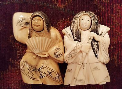 2 Signed Japanese Hand Carved Kabuki Netsuke Figures with Rotating Heads