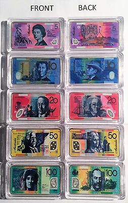 New Set of 5 x Australian New Note 1 oz Ingots 999 Silver Plated/Colour Printed