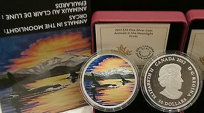 2017 Orcas Moonlight Glow-in-Dark 2OZ Pure Silver $30 Canada Coin, Mintage 4000.