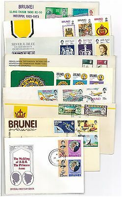 BRUNEI 10 FDCs OF 1960's ISSUES STAMPS