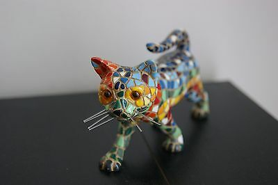 chat barcino mosaique figurine