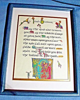 "Estate COLOR hand CALLIGRAPHY ""IRISH BLESSING"" Medieval Illiustrations FRAMES"