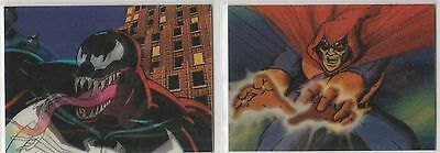 1996 MARVEL MOTION Complete 2 card BLANK-BACK PROMO CARDS in like-new condition