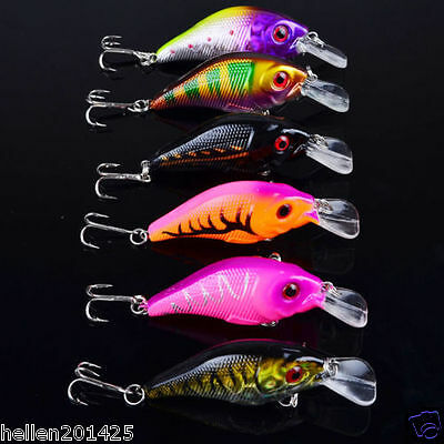 Lot 6pcs Mixed Fishing Lures Assorted Minnow Lure Crank Bait Tackle Popper Hooks