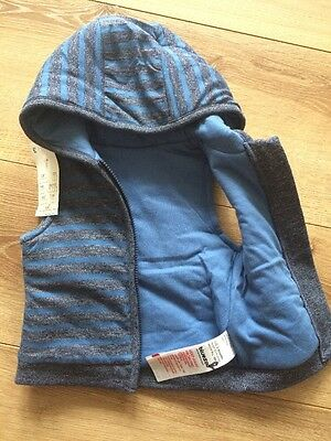 New Bluezoo Debenhams Baby Boys Hooded Gilet Size 0-3 Months