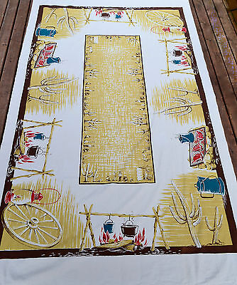 "Vintage CALIFORNIA HANDPRINTS Tablecloth BBQ Campfire Chuck Wagon 54"" x 90"""