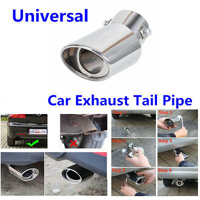 1Pcs Round Bend Stainless Steel Chrome Exhaust Tail Muffler Tip Pipe For Car SUV