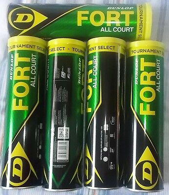 Lotto Di 5 Tubi Da 4 Palline Da Tennis Dunlop Fort Tournament Select All Court