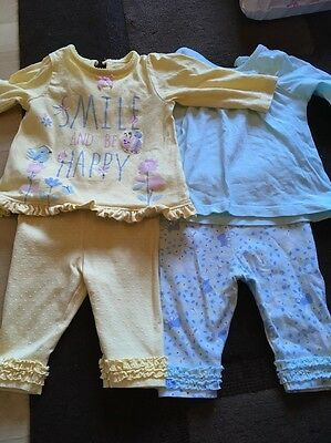2 Baby Girls 0-3 Months Top And Leggings Sets