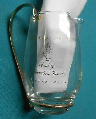 Old Grand Dad - Barware - Glass Water Pitcher - Gold Lettering & Handle