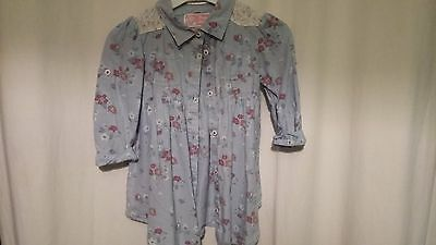 girl blue M&co flower/lace dress 12-18months