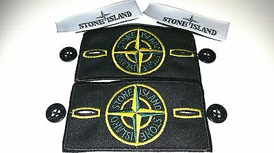 2×Genuine stone island badge sets with button and labels