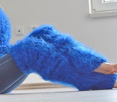 DUKYANA hand knitted HUGE mohair sweater LEGWARMERS One Size BLUE new thick