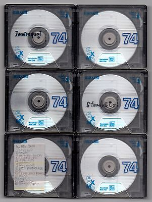 Six (6) pre-owned Maxell SXMD 74 minute MiniDiscs with cases  Free AusPost