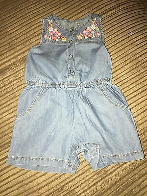 baby girls playsuit Age 3-6 Months Denim Flowers