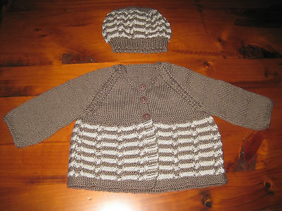 Hand knitted baby set, Cardigan and Beanie  Newborn - 3 months Choc/Sandstone
