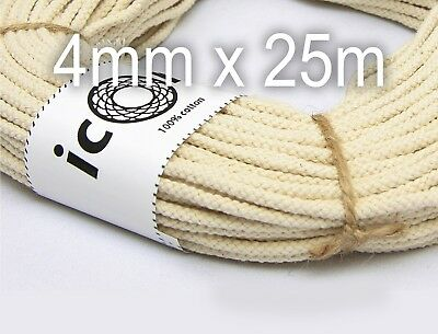 Macrame Cord 4mm 25m (27yds) Cotton Rope - Plant hanger supply - Craft Cord
