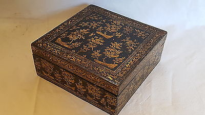 Wood lacquered vintage Victorian antique jewellery box with gold gilt decoration