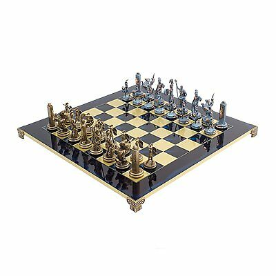 Large Luxury Blue Poseidon Greek Chess Set with 4.25 inch king and brass and