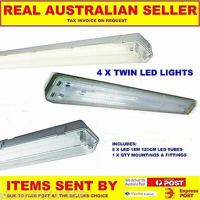 4 X T8 Led Outdoor Weatherproof Outdoor Twin Light Fitting Including Tubes 240V