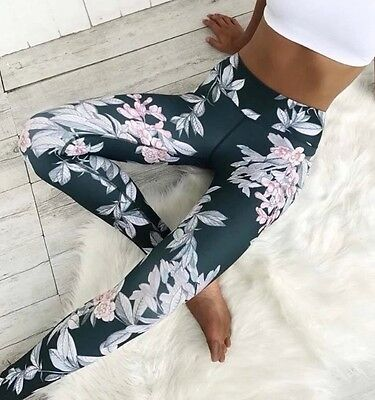 Fitness Yoga Gym Activewear Sports Pants Leggings Tight Flower Print Size S