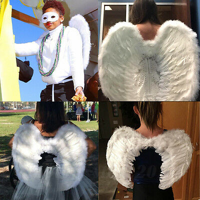 Halloween White Feather Angel Wings Costume Kids Fairy Adults Dress Party Xmas