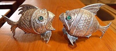 Spanish Sterling Silver Novelty Fish Salt & Pepper Set