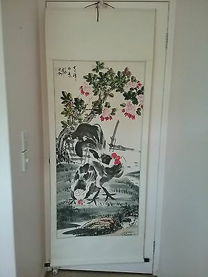 Antique vintage Japanese rooster chicken wall hanging print scroll silk & paper