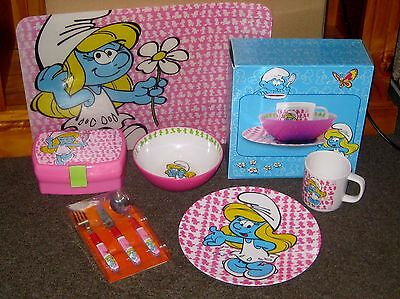 Smurfette Pink Lunchbox & 2 Breakfast Sets Cup Bowl Plate & Knife Fork Spoon +