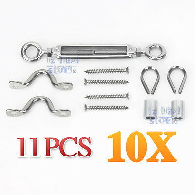 10Pack Stainless Steel Grade 316 Balustrade Kit DIY Wire Rope Eye/Eye 7 x 7 NEW