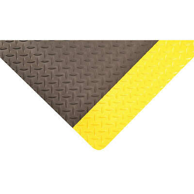 CONDOR Antifatigue Mat,Blk,YlwBrdr,3ftx5ft, 3VFU8, Black with Yellow Border