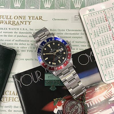 Vintage Rolex 1675 GMT Master Pepsi untouched 1978's box and Punched paper set