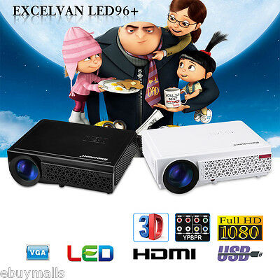 LED 5000 Lumen 3D Projector FULL HD 1080P Home Theater USB/HDMI/VGA/AV 2000:1