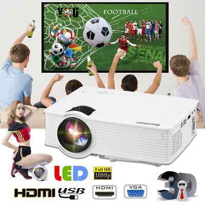 Excelvan LED 96+ 1080p HD Home Cinema Theater Projector 5000 Lumens 3D 1280*800